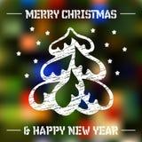 在色的背景的圣诞树 免版税图库摄影