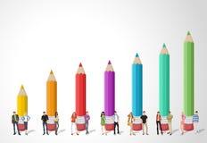 在色的铅笔图前面的少年学生 皇族释放例证