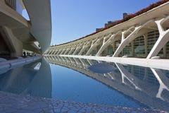在艺术和科学城市的建筑几何在巴伦西亚 免版税图库摄影