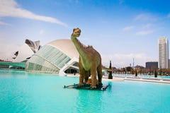 在艺术和科学巴伦西亚西班牙城市的恐龙 免版税图库摄影