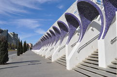 在艺术宫殿,巴伦西亚,西班牙附近的街道离开了 库存图片