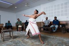 在艺术拼贴画的Kathakali古典印地安舞蹈课在印度 免版税库存照片