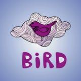 在艺术背景的紫色鸟 库存照片