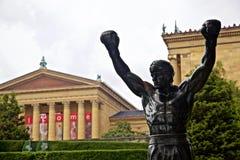 在艺术馆的岩石巴波亚雕象费城 免版税库存图片