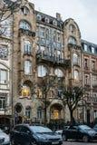 在艺术deco样式的美好的法国建筑学在史特拉斯堡 免版税图库摄影
