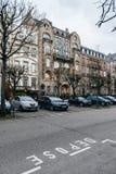 在艺术deco样式的美好的法国建筑学在史特拉斯堡 免版税库存照片