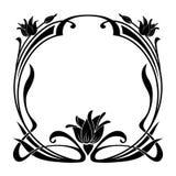 在艺术Nouveau样式的圆的装饰花卉框架 免版税库存照片