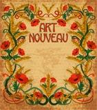 在艺术nouveau样式的小麦背景 免版税库存照片