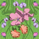 在艺术Nouveau样式的手拉的传染媒介样式 与词根的细线的华丽花卉背景 皇族释放例证