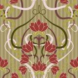 在艺术nouveau样式的花卉无缝的墙纸 免版税库存照片