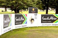 在艾基康山高尔夫俱乐部的第十七个发球区域 图库摄影