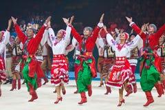 在节奏体操世界冠军的节日音乐会 免版税库存图片