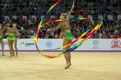 在节奏体操的俄国队 免版税图库摄影