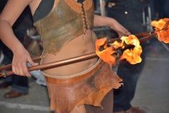 在节日跟特春天的火dansers 库存图片