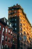 在芒特弗农,巴尔的摩,马里兰的历史的建筑学 免版税库存图片