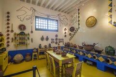 在芙烈达・卡萝博物馆汇集里面-这里她的厨房的陈列 库存照片
