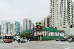 在芝加哥街道上的雨林咖啡馆  库存照片