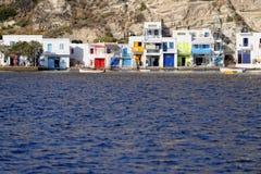 在芦粟海岛上的Klima村庄 库存照片