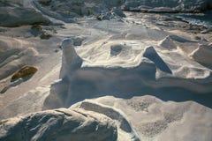 在芦粟海岛爱琴海,希腊海岸的矿物形成  库存图片