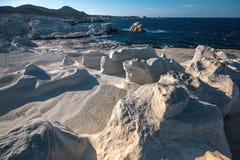 在芦粟海岛爱琴海,希腊海岸的矿物形成  库存照片