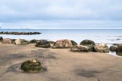 在芬兰湾的多岩石的海滩 Sillamae 免版税图库摄影