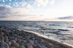 在芬兰湾的晚上, 库存图片
