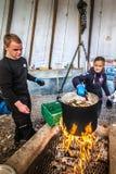 在芬马克郡烹调的巨蟹,挪威 库存图片