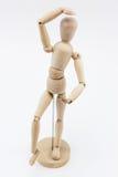 在芭蕾姿势的一个木时装模特 库存照片