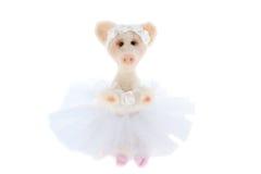 在芭蕾舞短裙的白色玩具猪 免版税库存图片
