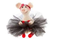 在芭蕾舞短裙的白色玩具猪 免版税图库摄影