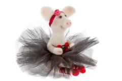 在芭蕾舞短裙的白色玩具猪 免版税库存照片