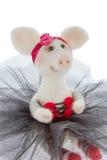 在芭蕾舞短裙的白色玩具猪 库存照片