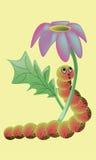在花传染媒介下的动画片毛虫 免版税库存照片