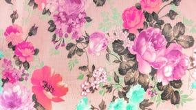 在花卉抽象无缝的样式的减速火箭的鞋带织品在纺织品纹理背景,使用当家具材料或葡萄酒样式 免版税库存照片