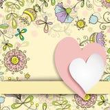 在花卉样式背景的两心脏  免版税库存图片