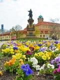 在花圃的看法正方形的 捷克城市Podebrady 免版税图库摄影