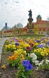 在花圃的看法正方形的 捷克城市Podebrady 免版税库存照片