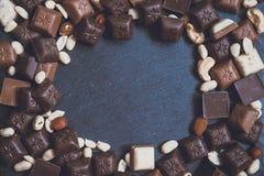 在花岗岩背景的Chokolate 免版税库存照片