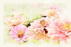 在花开花的水彩例证绘画的摘要桃红色五颜六色的形状 免版税库存图片