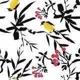 在花无缝的样式的水彩野生异乎寻常的鸟在白色背景 库存图片