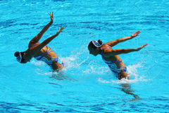 在花样游泳二重奏技术惯例初步回合期间,西班牙的Ona Carbonell和芽体Mengual竞争 库存照片