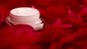 在花瓣和水背景,皮肤的自然科学的敏感skincare润肤霜面霜 股票视频