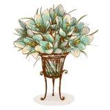 在花瓶构成的葡萄酒花 免版税库存照片