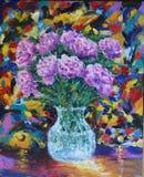 在花瓶油画的花 免版税库存照片