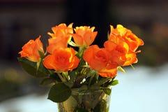 在花瓶的三文鱼色的玫瑰 免版税库存图片