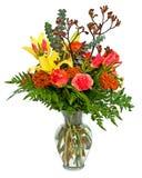 在花瓶的五颜六色的花花束排列 图库摄影