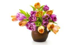 在花瓶的五颜六色的郁金香 图库摄影