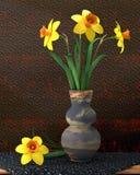 在花瓶的例证黄水仙 库存图片