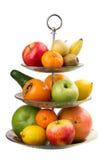 在花瓶的各种各样的果子 免版税库存图片