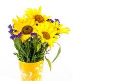 在花瓶的向日葵 免版税库存照片
